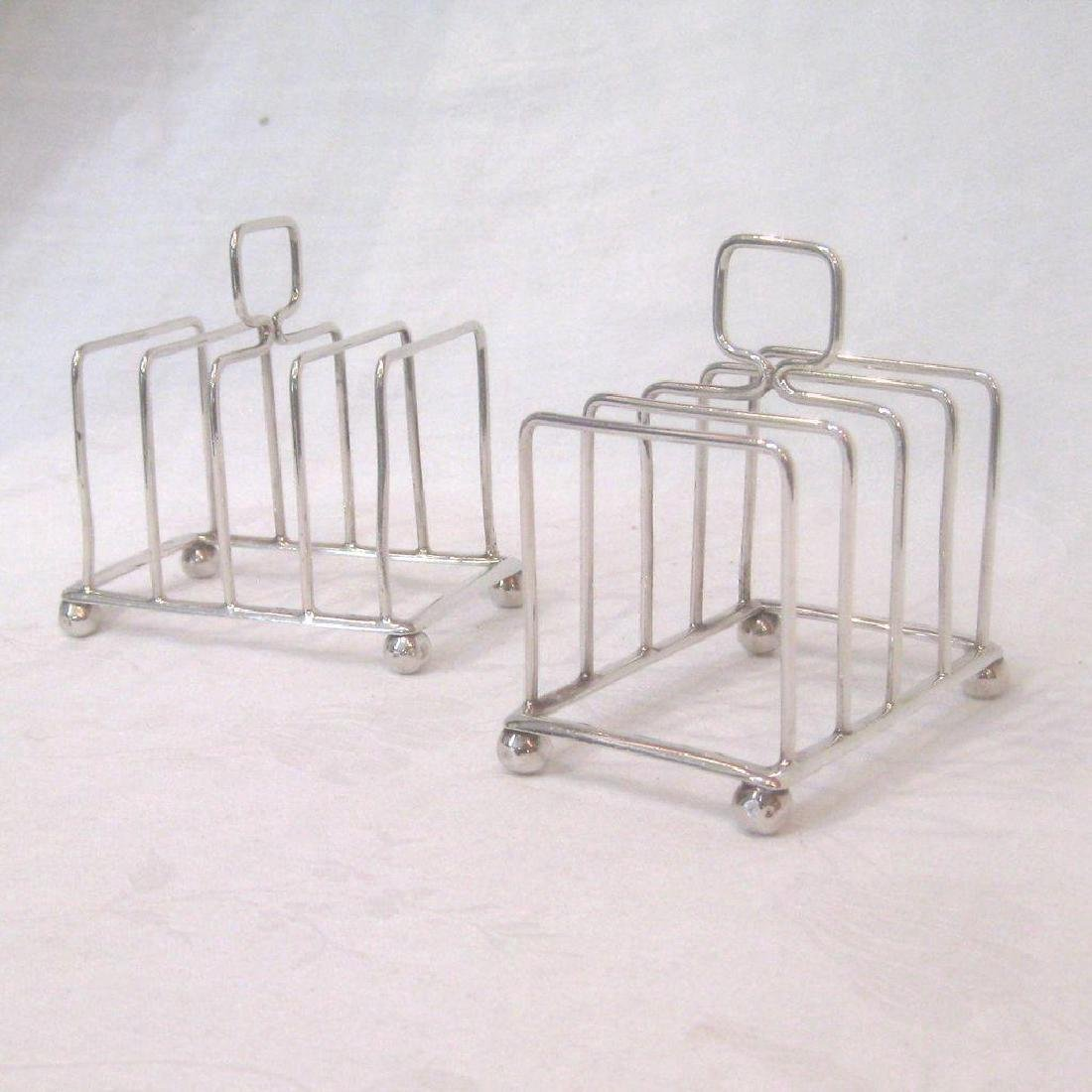 Antique Pair of English Sterling Silver Toast Racks - 2