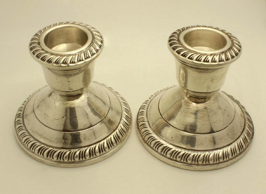Vintage Crown Sterling Silver Gadroon Candlesticks