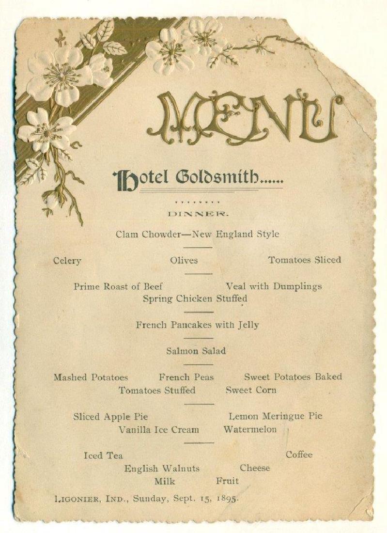 1895 Hotel Goldsmith Ligonier Indiana Dinner Menu
