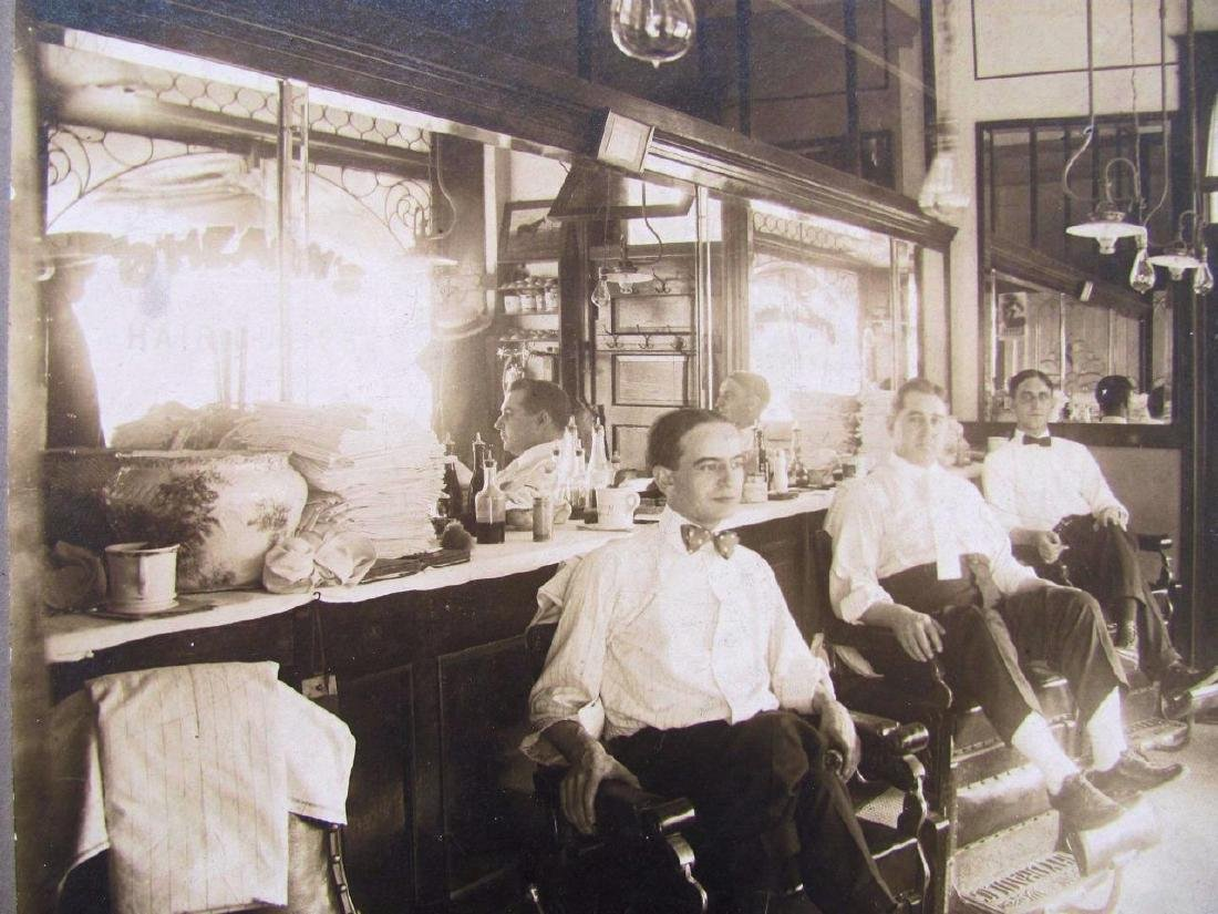 1900 Barber Shop Interior O'hearns Haircuts Kansas