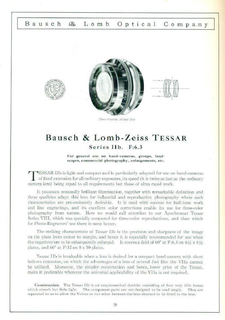 1910 Bausch & Lomb Optical Photographic Camera Catalog - 3