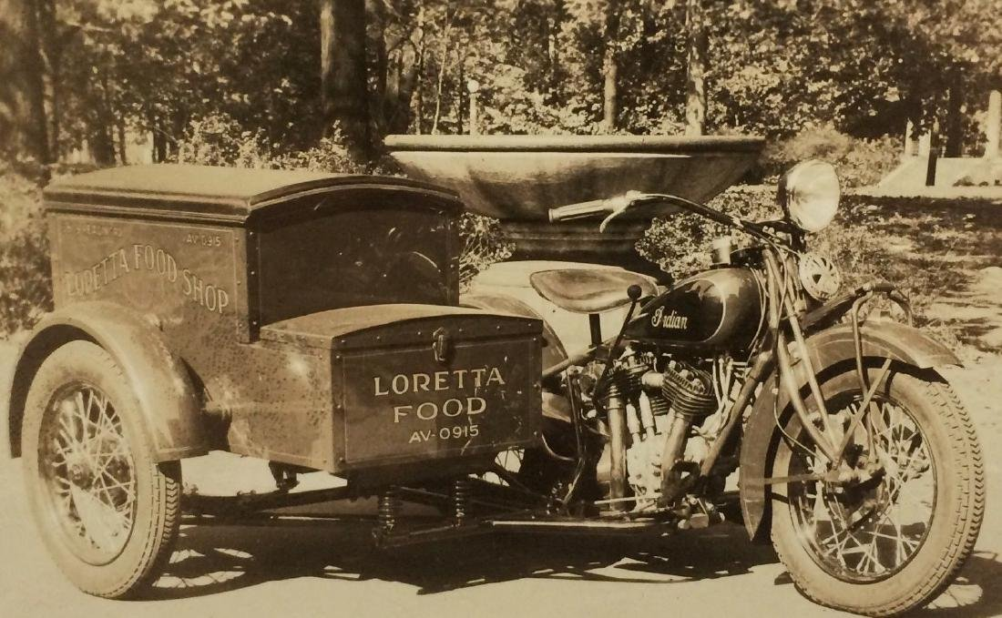 Antique 1920 Indian Motorcycle Vintage Labor Photo