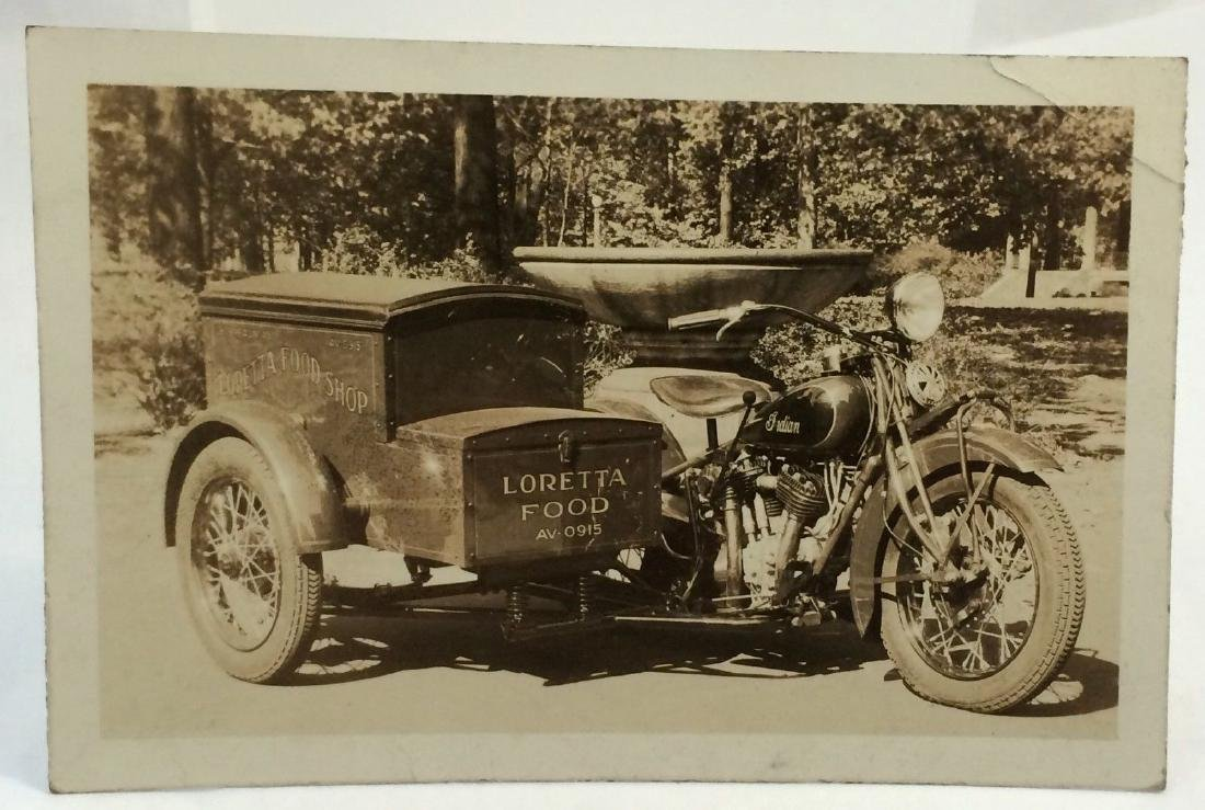 Antique 1920 Indian Motorcycle Vintage Labor Photo - 3