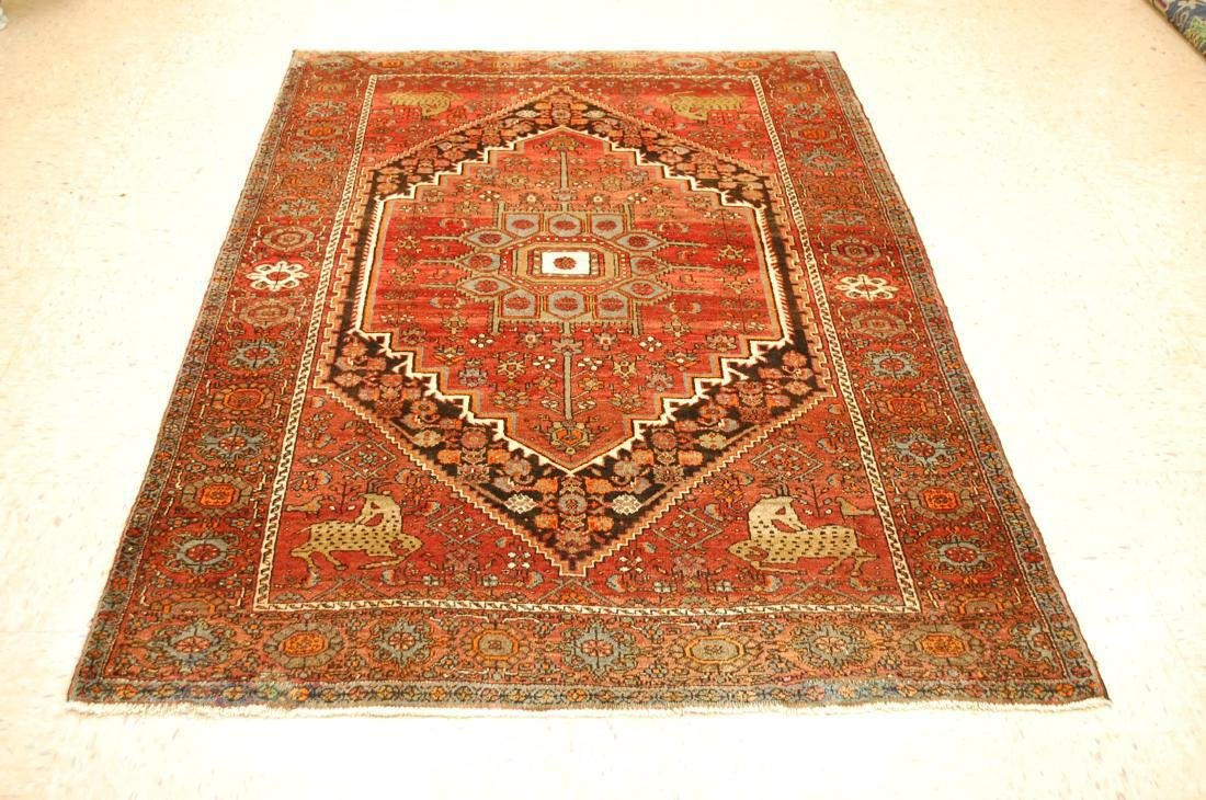 Vintage Animal Subjects Persian Bijar Rug 4.7x6.8