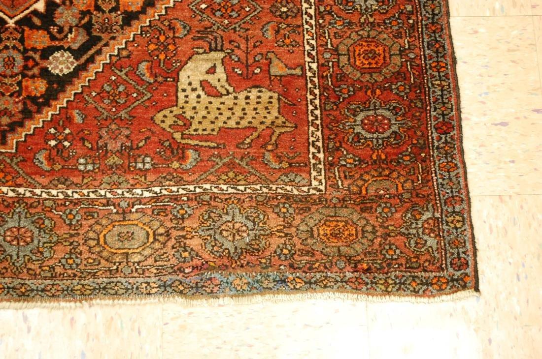 Vintage Animal Subjects Persian Bijar Rug 4.7x6.8 - 2