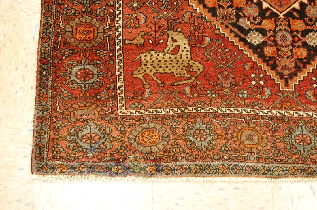 Vintage Animal Subjects Persian Bijar Rug 4.7x6.8 - 3