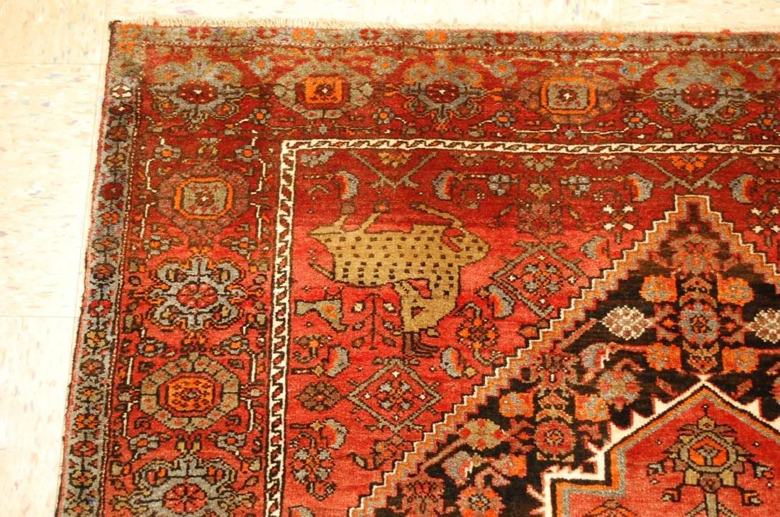 Vintage Animal Subjects Persian Bijar Rug 4.7x6.8 - 4