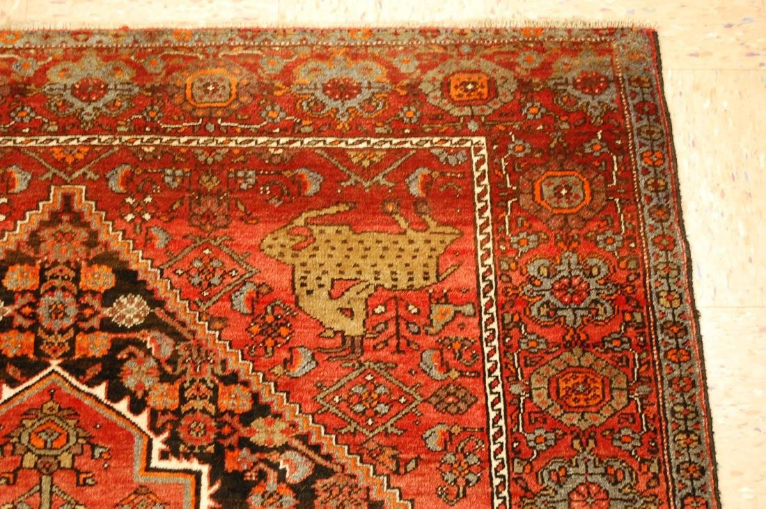 Vintage Animal Subjects Persian Bijar Rug 4.7x6.8 - 5