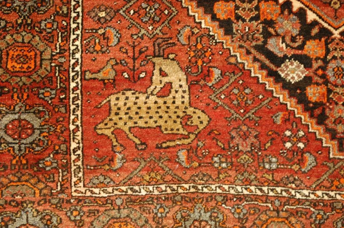 Vintage Animal Subjects Persian Bijar Rug 4.7x6.8 - 7