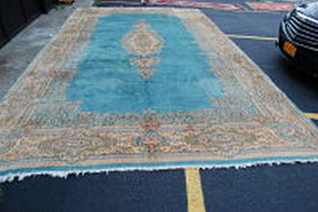 Antique Kork Wool Persian Lavar Kerman Rug 9.10x18
