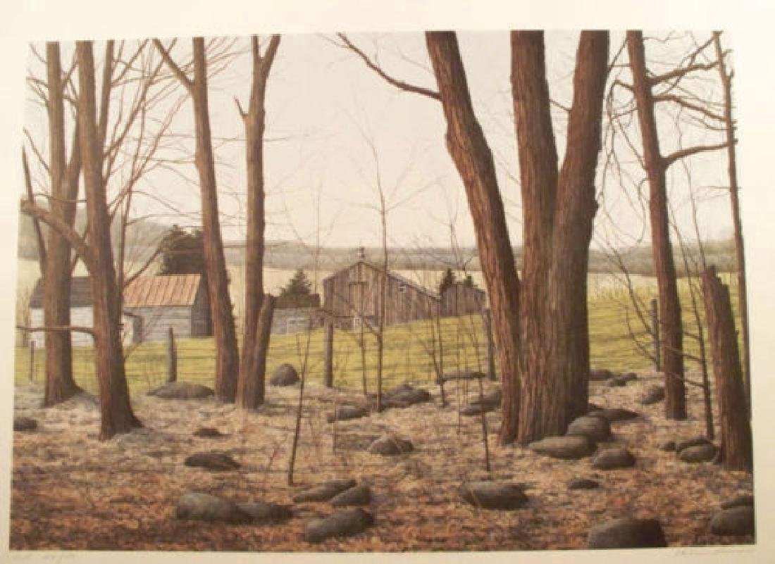 Helen Rundell Limited Edition Lithograph Wooded Stead