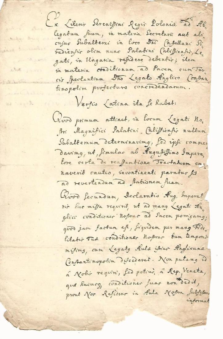 1692 Treaty of Peace King of Poland Tartars Ukraine