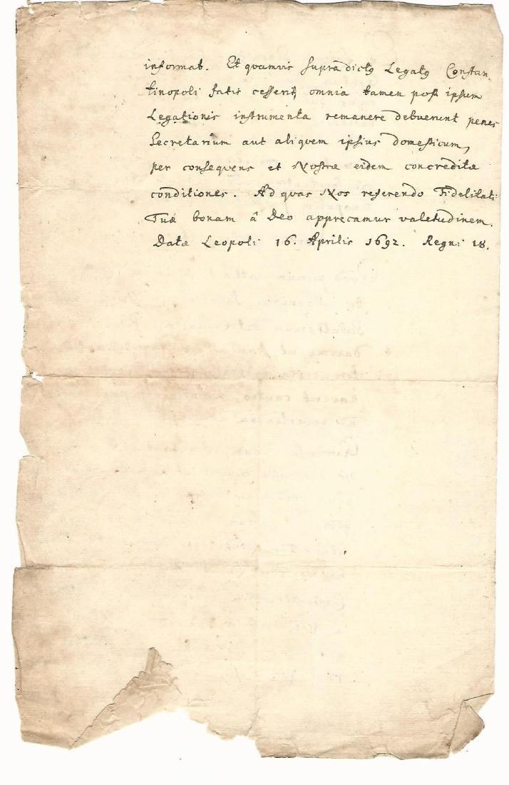 1692 Treaty of Peace King of Poland Tartars Ukraine - 2