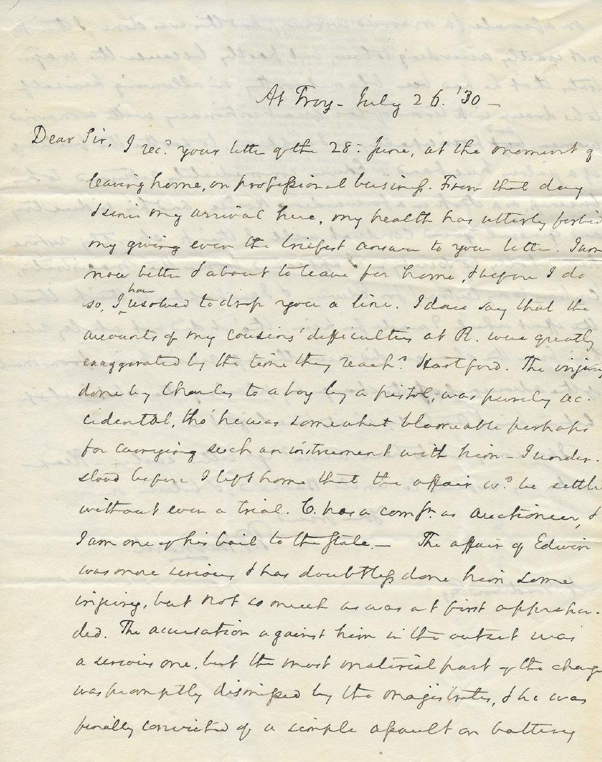 1830 Troy New York Letter Regarding Sexual Assault