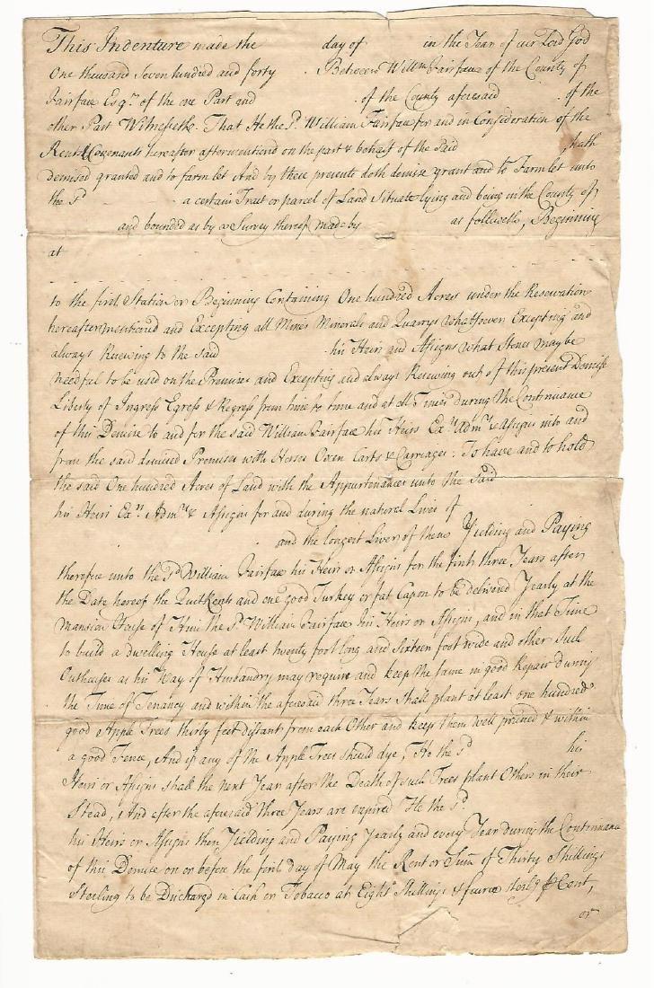 1740 Manuscript Indenture Fairfax Family