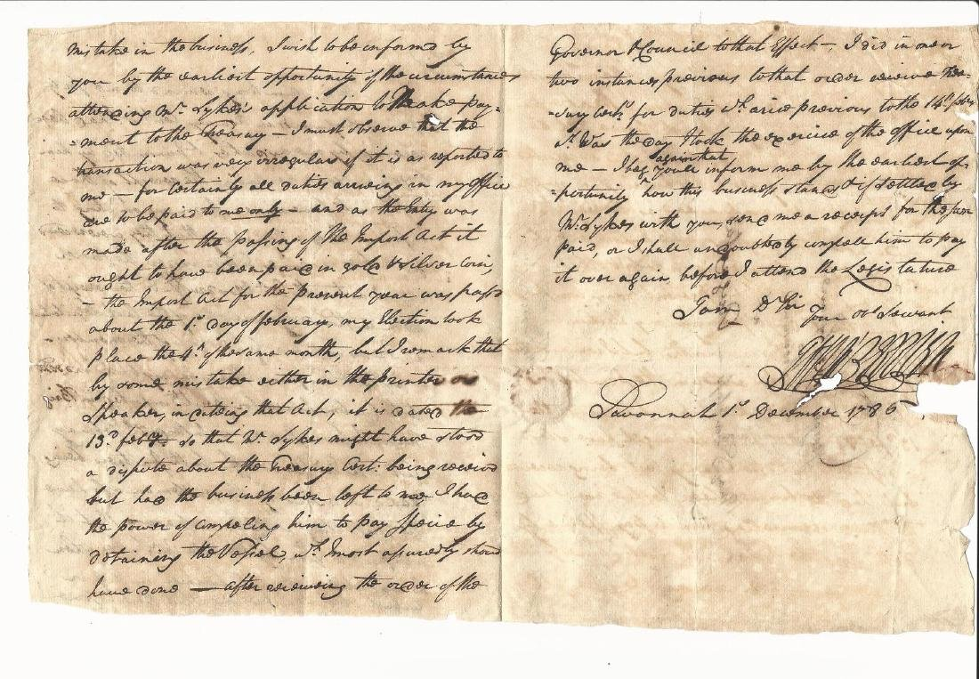 1786 Manuscript Letter George Berrien Savannah - 2