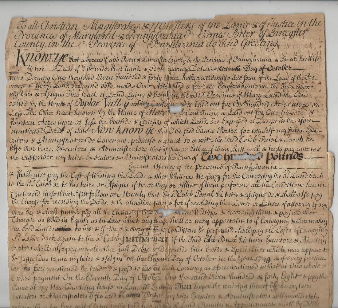1744 Manuscript Indenture Land Lancaster Pennsylvania