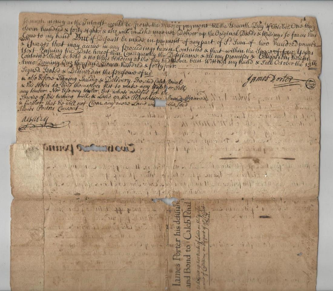 1744 Manuscript Indenture Land Lancaster Pennsylvania - 2