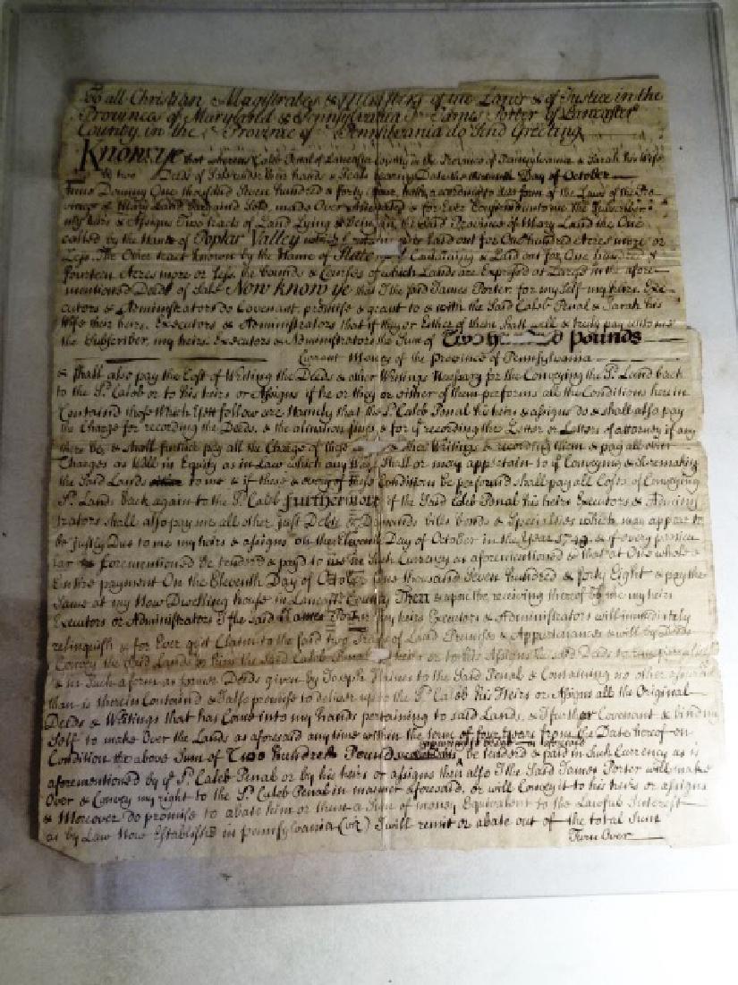1744 Manuscript Indenture Land Lancaster Pennsylvania - 3