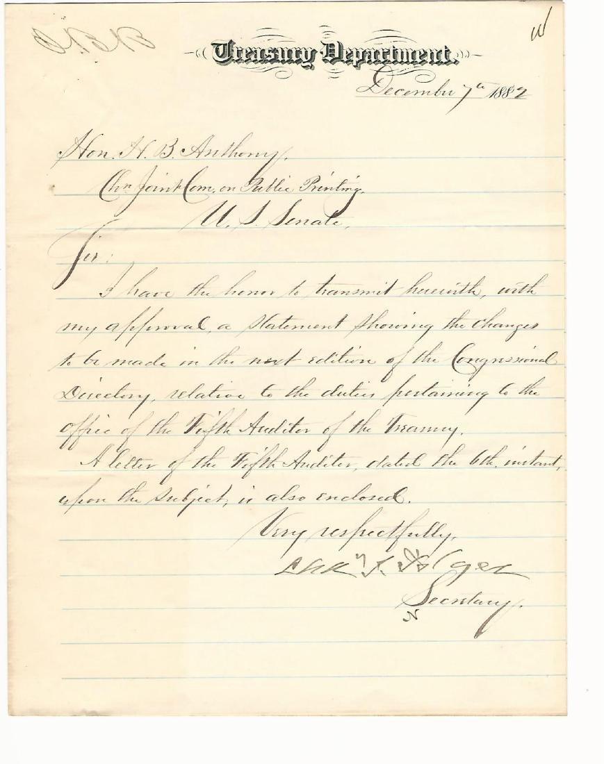 Letter signed by Treasury Secretary Charles Folger