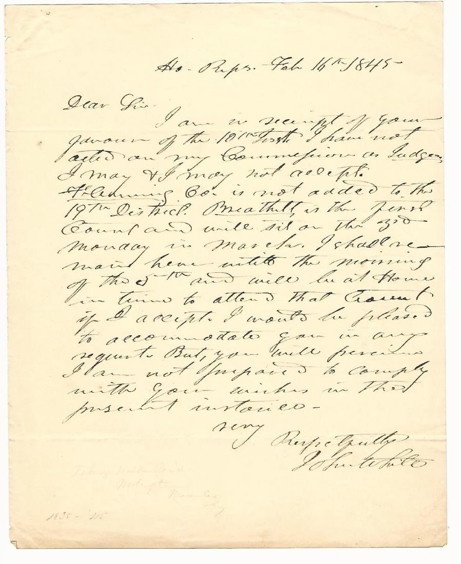 Autographed Letter Signed by John White Kentucky