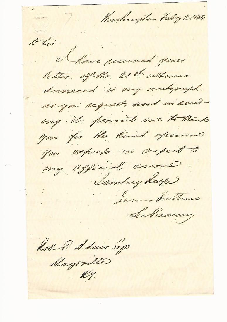 Autographed Letter James Guthrie Secretary Treasury