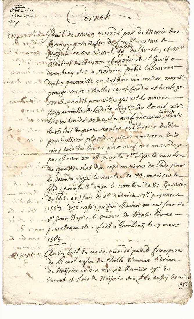 1627 French Manuscript Legal Document