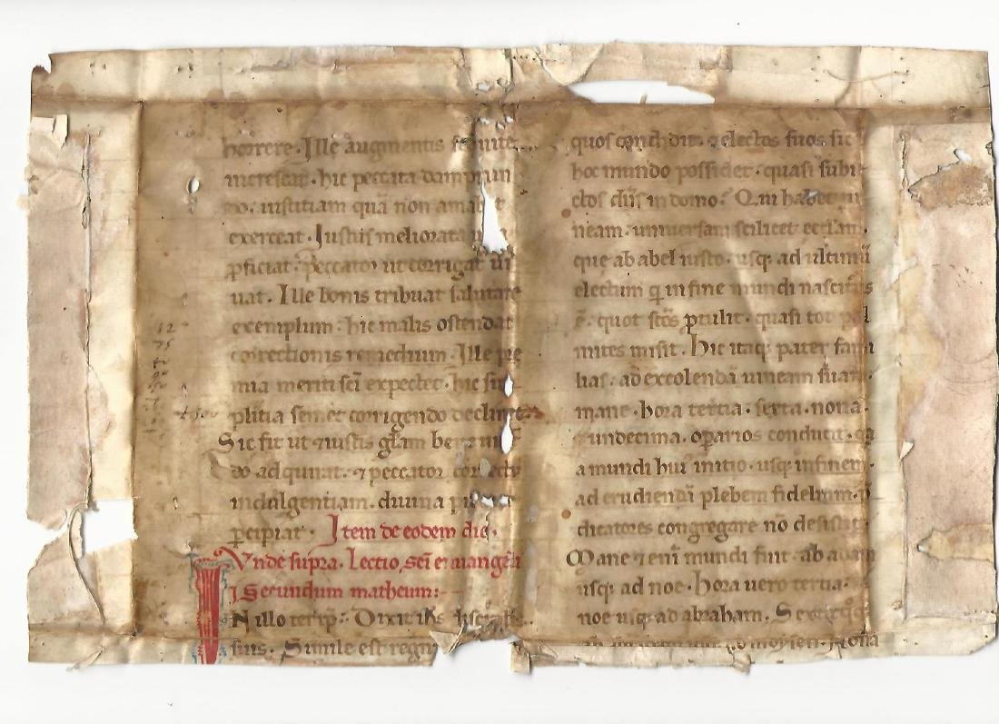 800+ Year Old Medieval Manuscript Gospel of Matthew