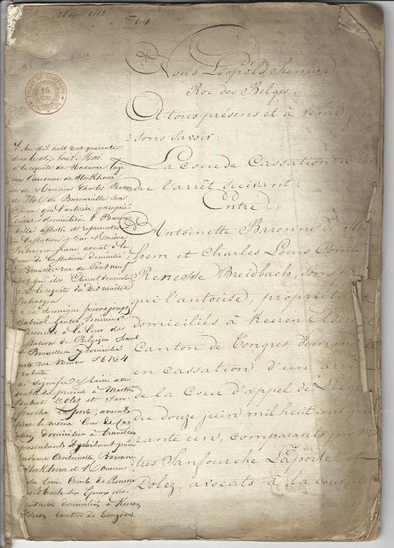 1842 Lengthy Decree of King Leopold Belgium Stockhem