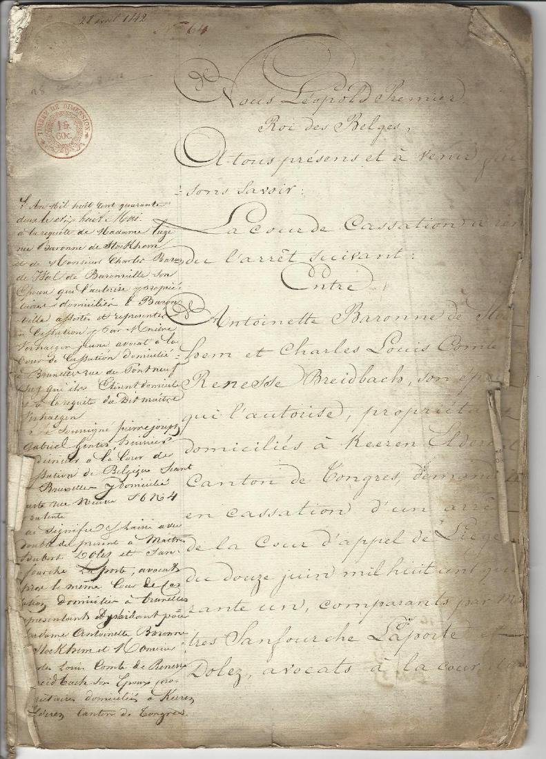 1842 Lengthy Decree of King Leopold Belgium Stockhem