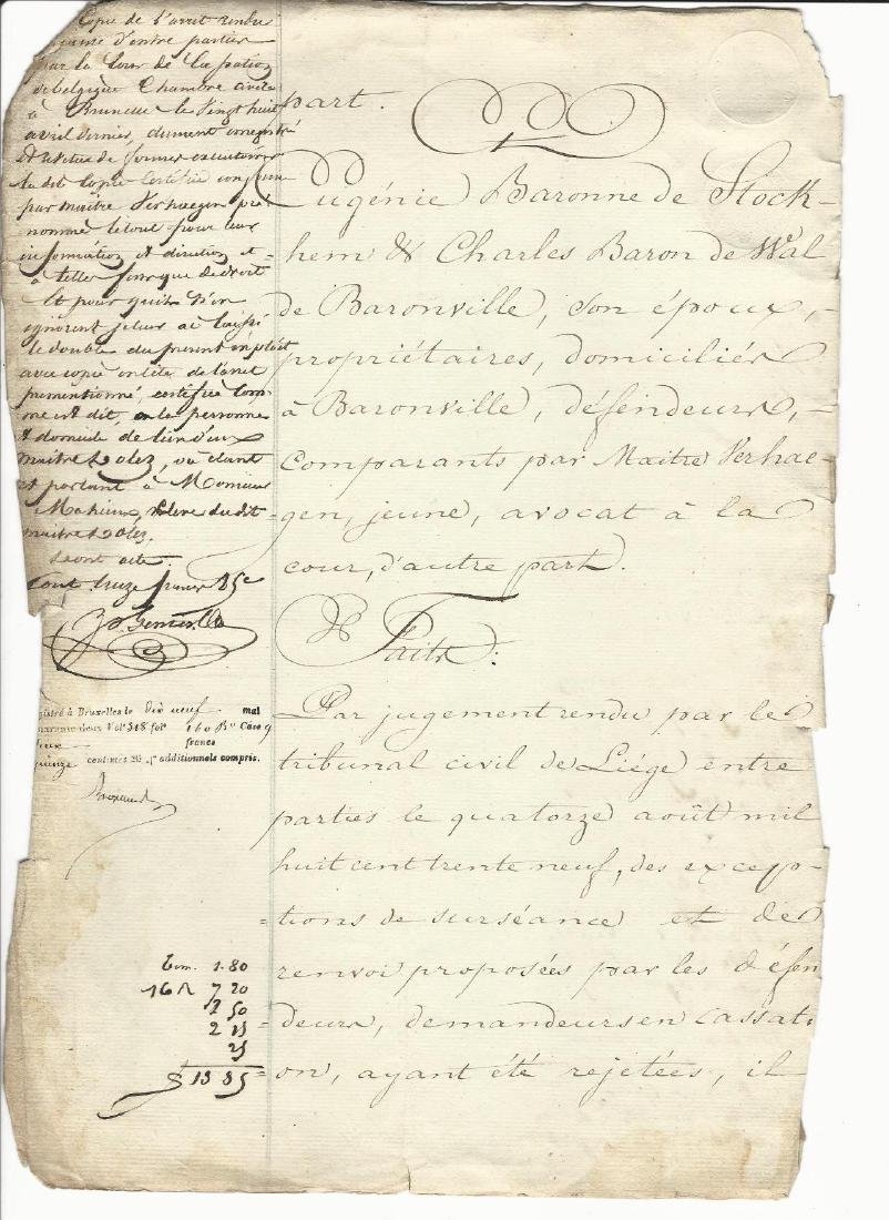 1842 Lengthy Decree of King Leopold Belgium Stockhem - 2