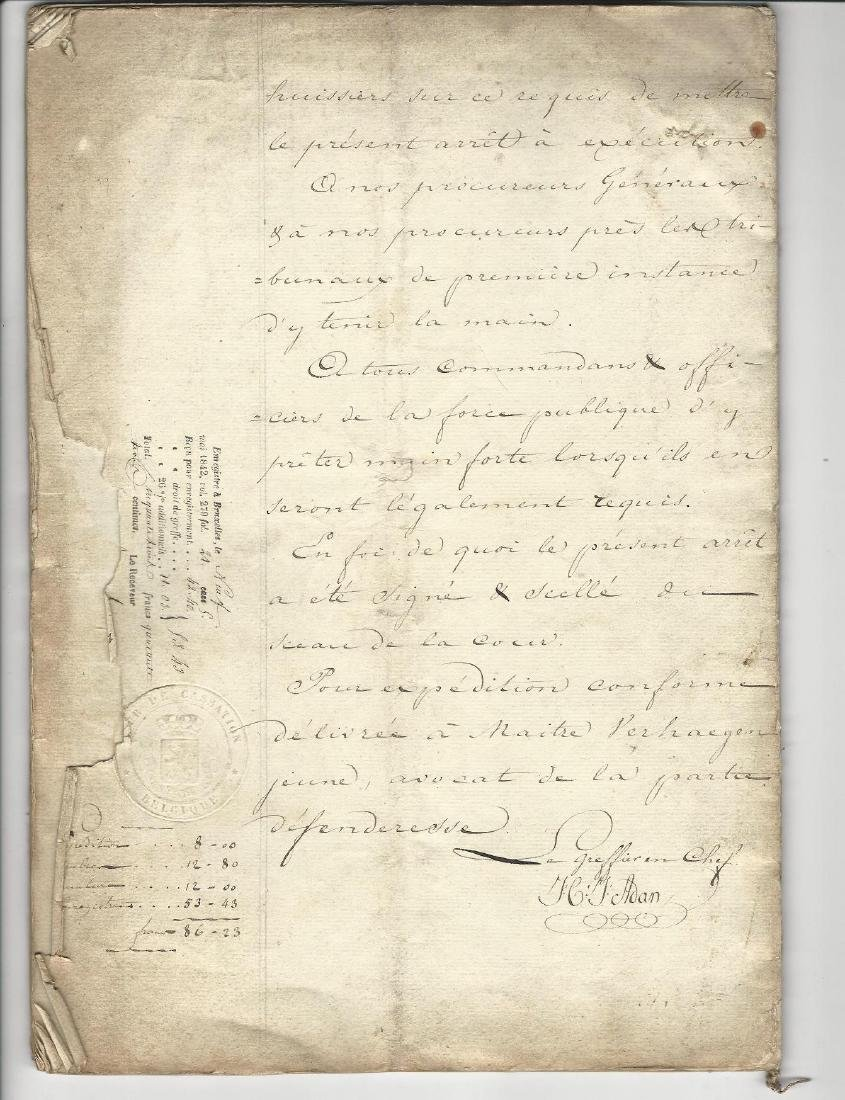 1842 Lengthy Decree of King Leopold Belgium Stockhem - 3