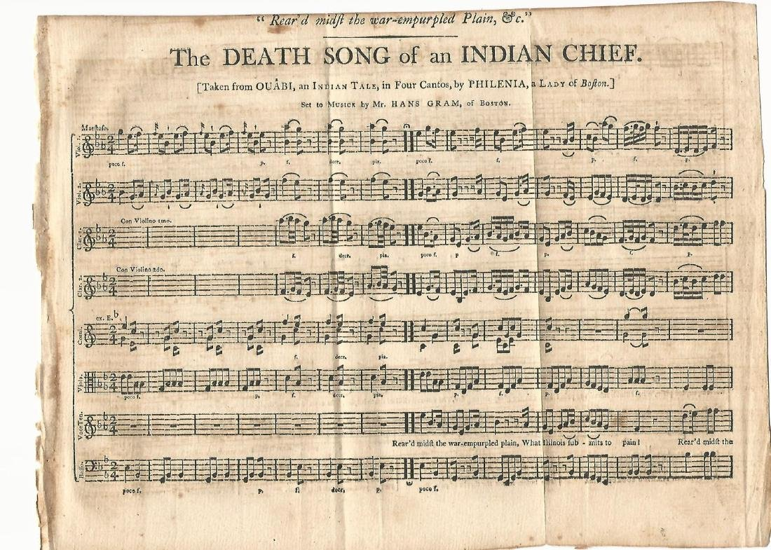 1791 Death Song Indian Chief Sarah Wentworth Morton