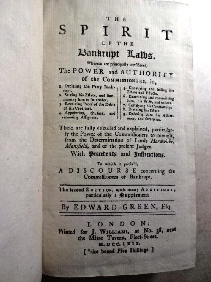 1769 The Spirit of the Bankrupt Laws by Edward Green