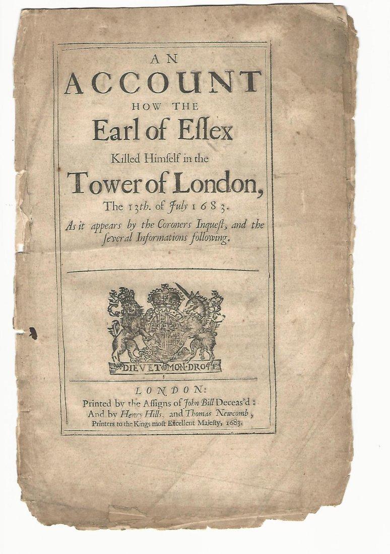 1683 Earl of Essex Killed Himself in Tower of London