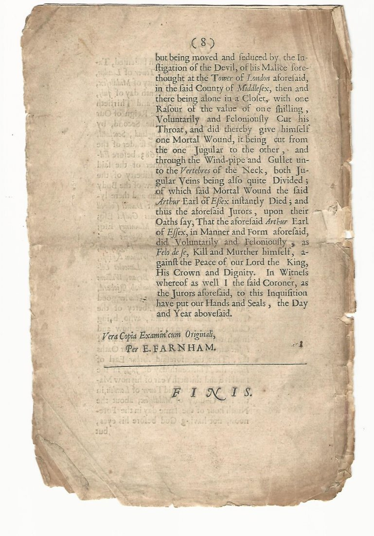 1683 Earl of Essex Killed Himself in Tower of London - 2