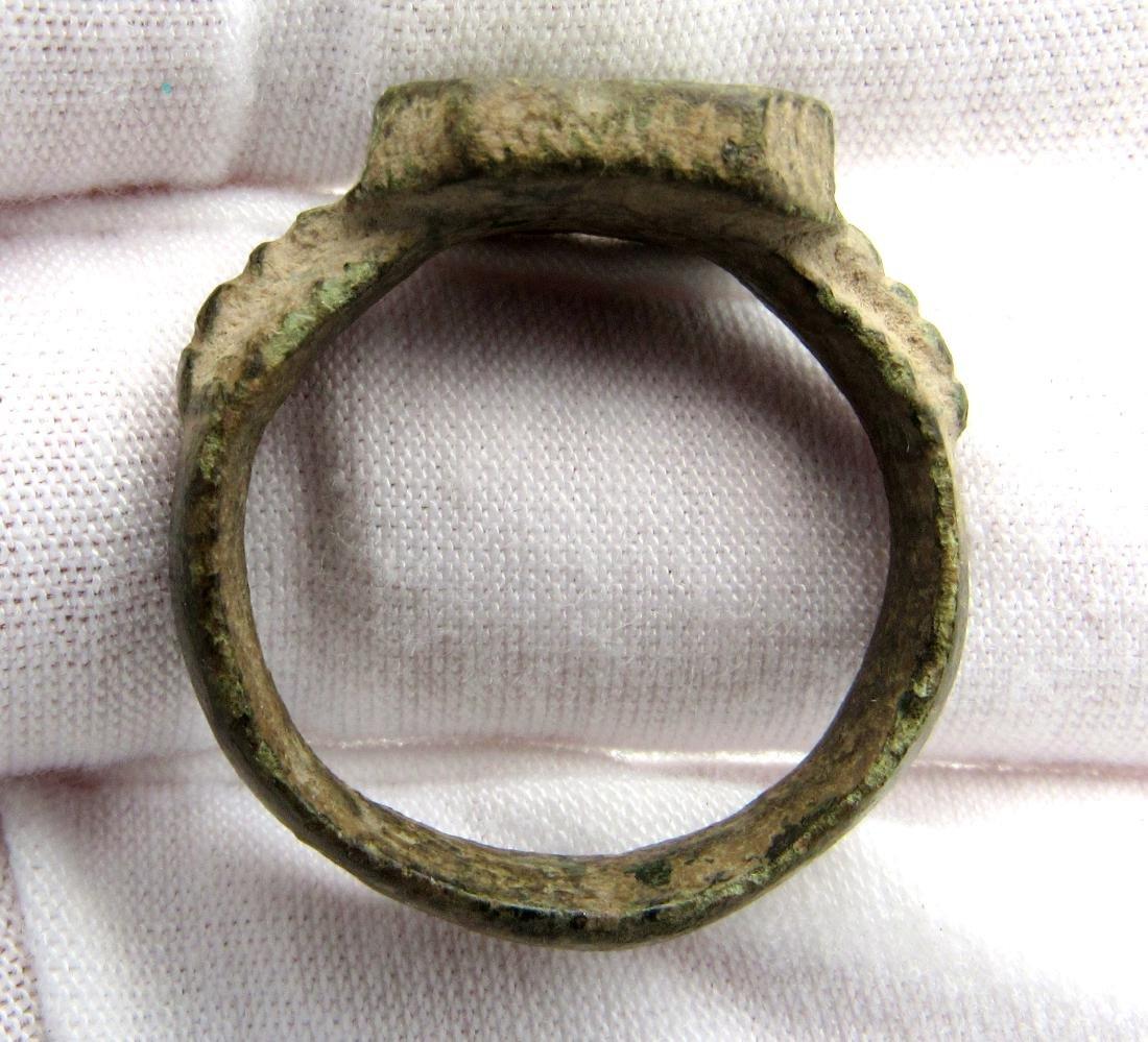 Viking Bronze Traveler's Ring Depicting Mountains - 2