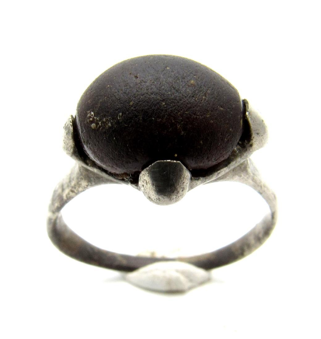 Viking Period Silver Ring with Large Black Stone