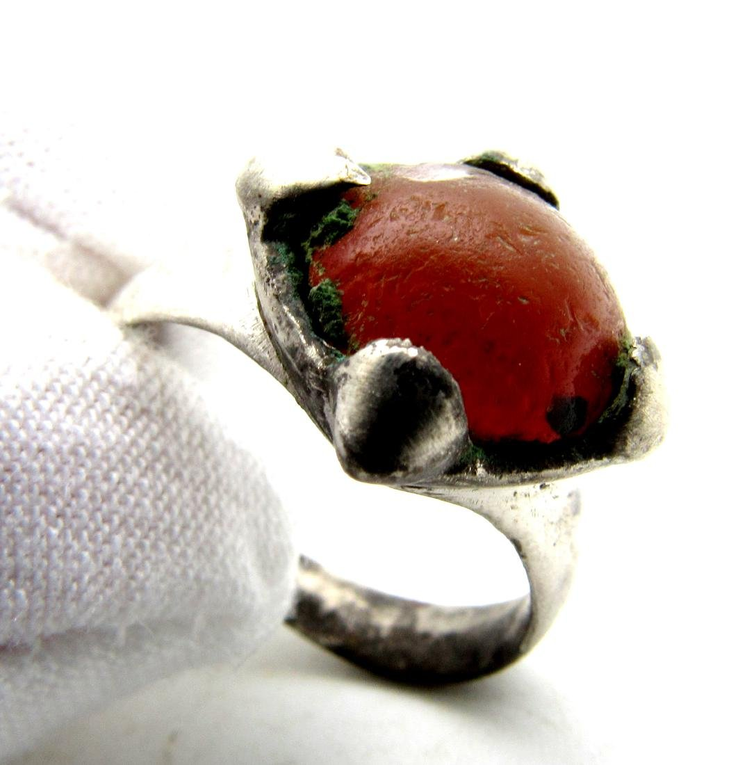 Viking Period Silver Ring with Large Carnelian Stone