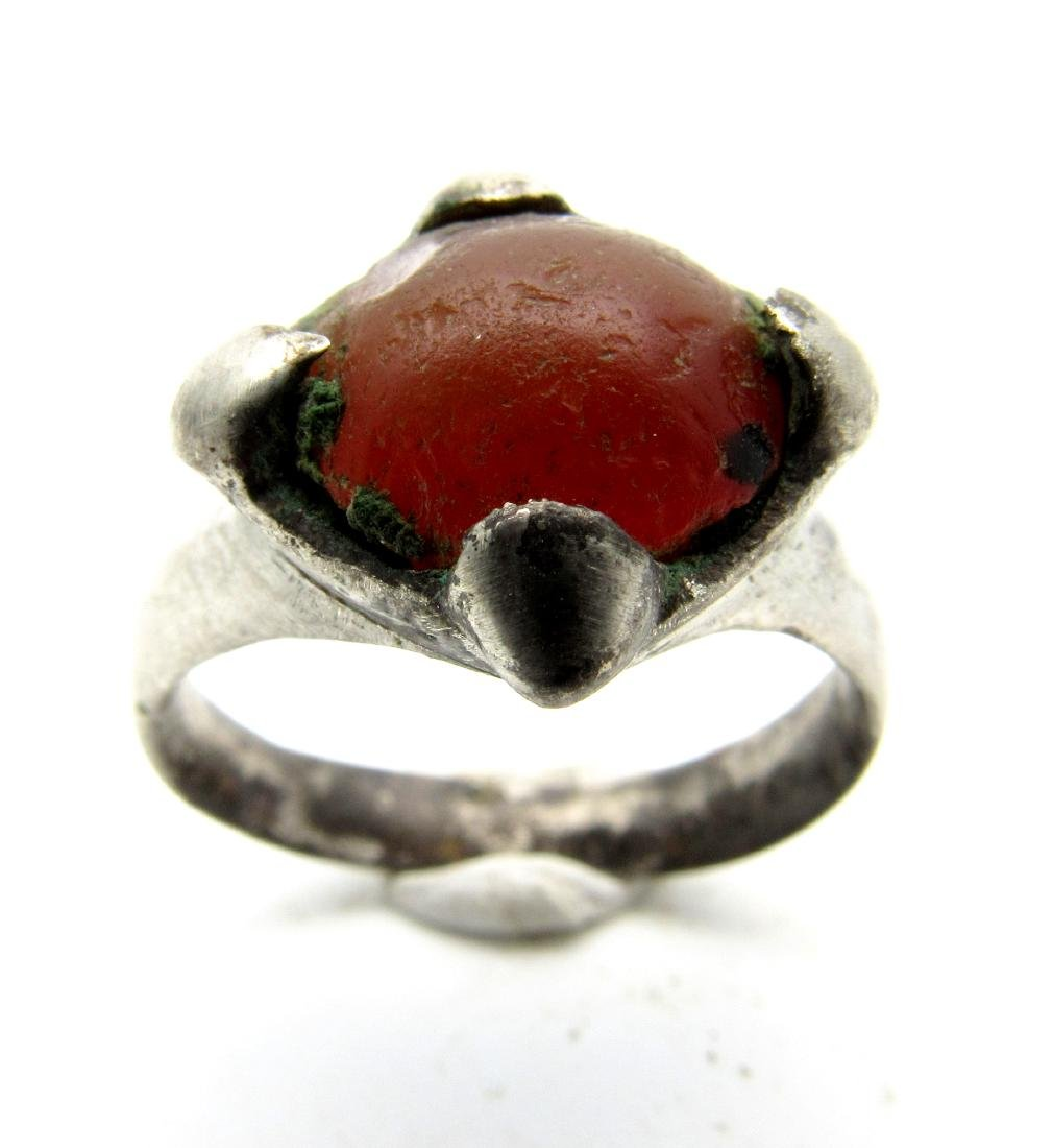 Viking Period Silver Ring with Large Carnelian Stone - 2