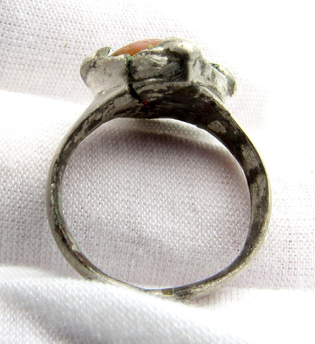 Viking Period Silver Ring with Large Carnelian Stone - 3