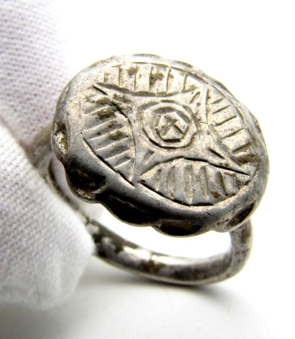 Crusaders Holy Land Silver Ring with Star of Bethelehem