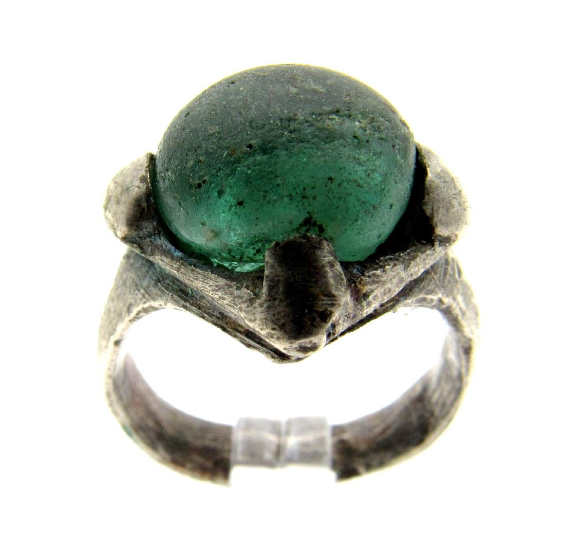 Silver VIKING ERA RING WITH PALE BLUE STONE