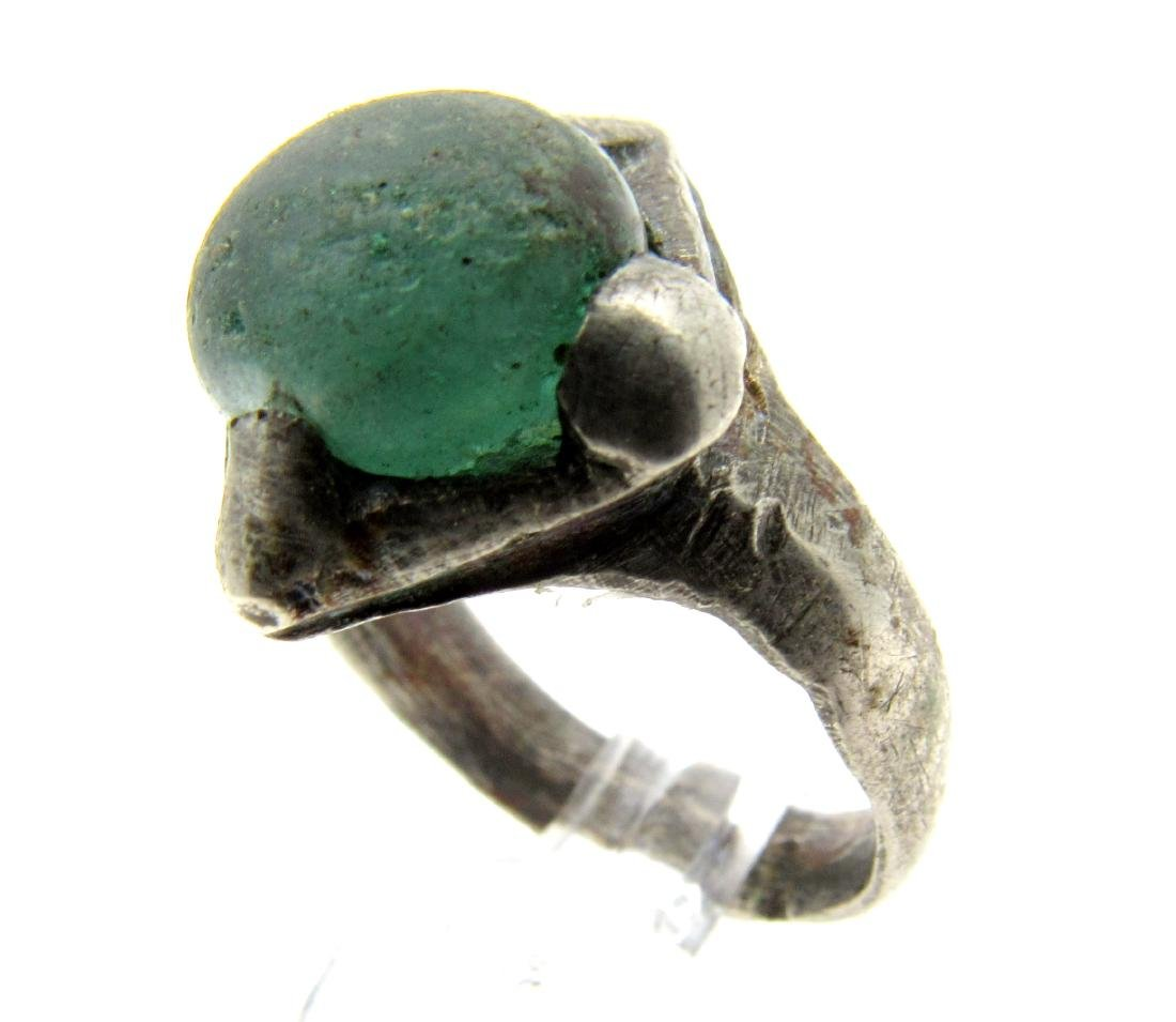 Silver VIKING ERA RING WITH PALE BLUE STONE - 2