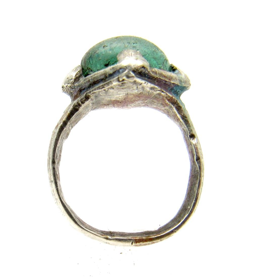 Silver VIKING ERA RING WITH PALE BLUE STONE - 3