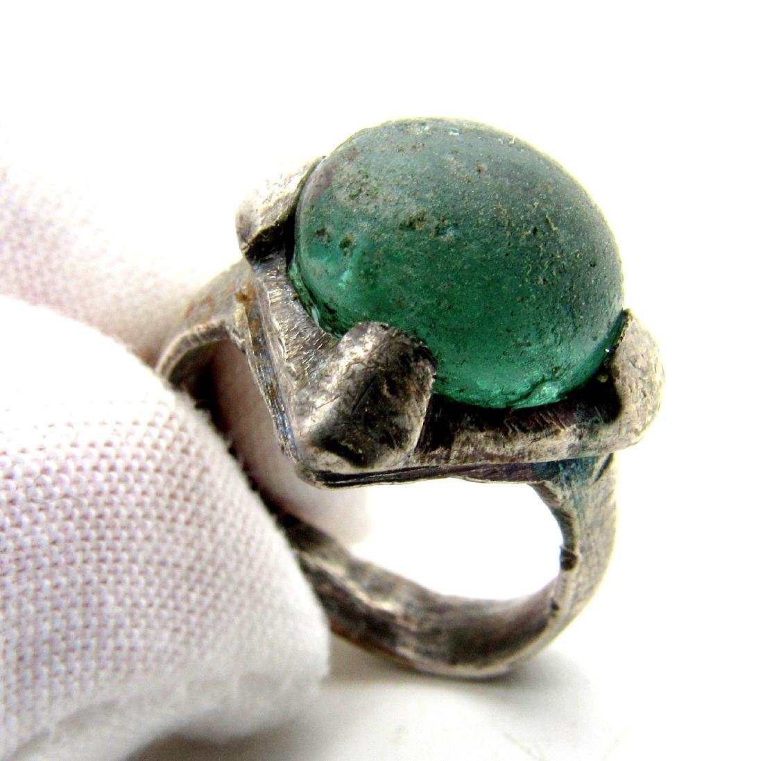 Silver VIKING ERA RING WITH PALE BLUE STONE - 4