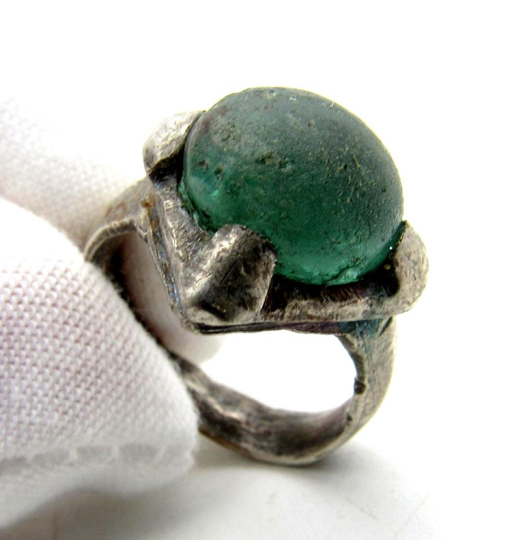 Silver VIKING ERA RING WITH PALE BLUE STONE - 5