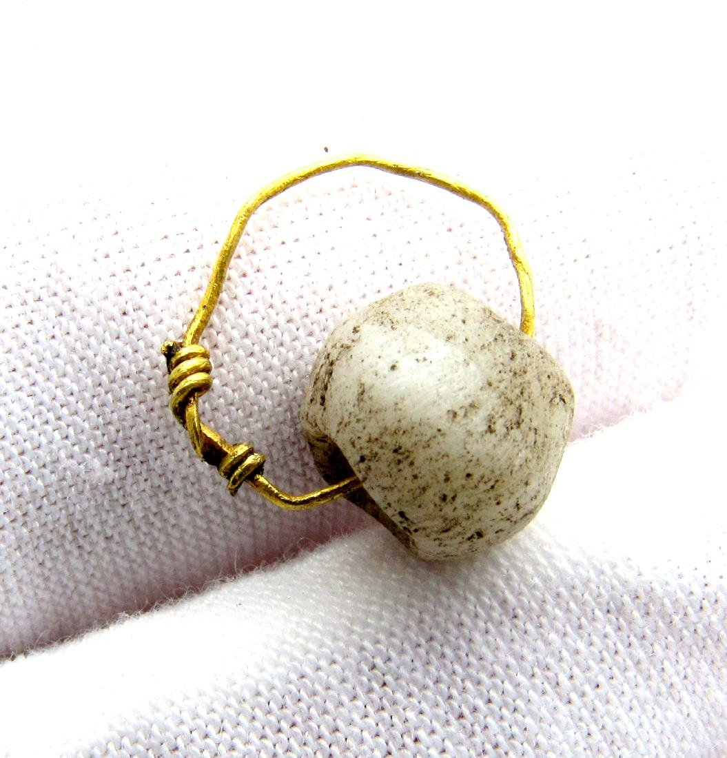 "Viking Glass Bead Pendant with Gold ""Knot"" Ring"