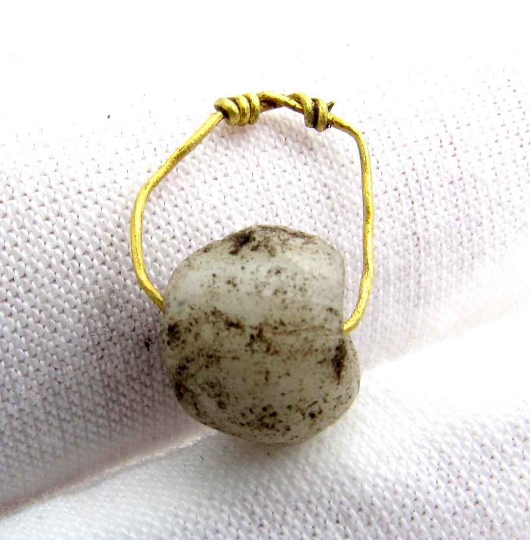 "Viking Glass Bead Pendant with Gold ""Knot"" Ring - 3"
