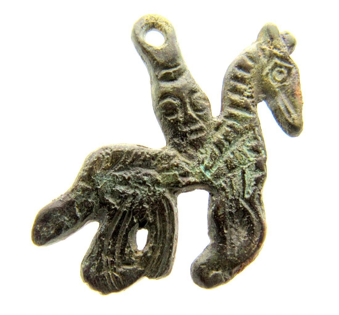 Rare Viking God Odin on Horse Amulet